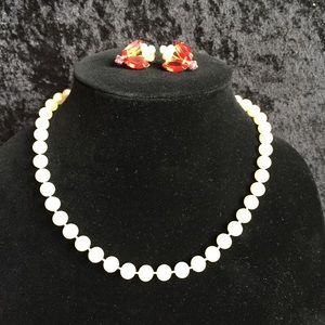 Jewelry - Red marquis & Pearl earrings & pearl necklace v019